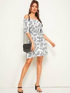 Off Shoulder Paisley Print Belted Dress