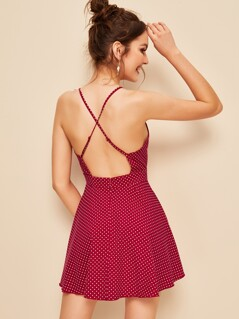 Plunging Crisscross Back Polka Dot Cami Dress