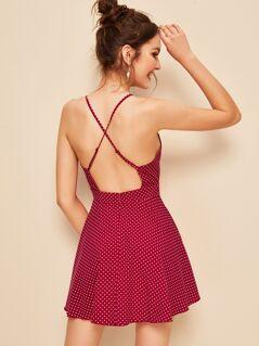 Plunging Crisscross Back Polka Dot Cami Dress