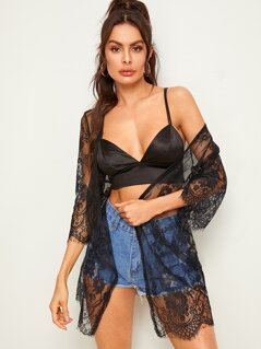 Open Front Sheer Lace Kimono
