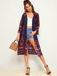 Aztec Print Midi Kimono