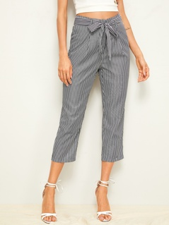 Vertical Striped Belted Capris Pants