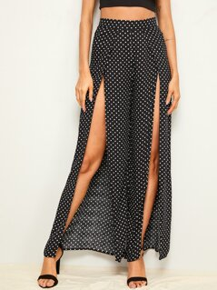 Polka-dot Print Split Thigh Wide Leg Pants