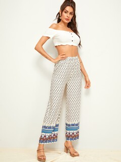 Tribal Print Elastic Waist Wide Leg Pants