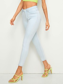 Contrast Stitch Patch Pocket Crop Tapered Jeans