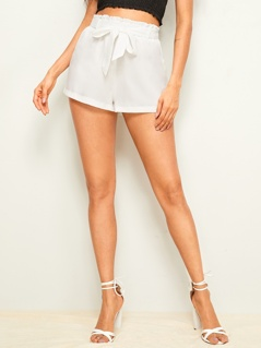 Solid Paperbag Waist Shorts