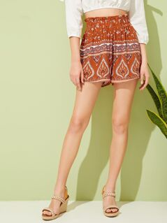 Paperbag Waist Tribal Print Shorts