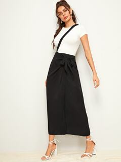 Solid Asymmetrical Wrap Knotted Skirt With Strap