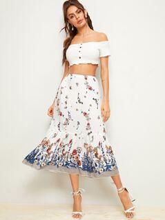 Floral Print Flippy Hem Skirt
