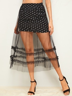 Frill Trim Mesh Overlay Polka-dot Skirt