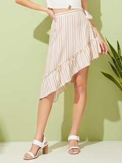 Asymmetrical Ruffle Hem Striped Knotted Skirt