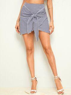 Tie Front Asymmetrical Gingham Skirt