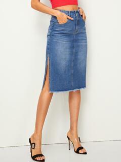 Slit Side Raw Hem Denim Skirt