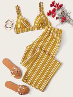 Triangle Bralette Top & Striped Pants Set