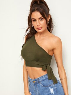 Solid One Shoulder Knotted Crop Top