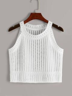 Halter Neck Crochet Crop Cami Top