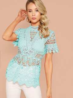 Mock Neck Guipure Lace Top
