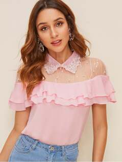 Embroidered Collar Mesh Yoke Layered Ruffle Top