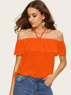 Neon Orange Halter Off Shoulder Ruffle Trim Marled Top
