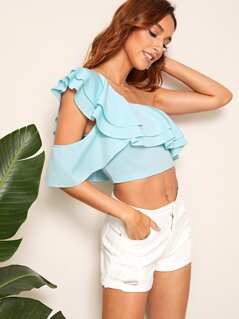 One Shoulder Layered Ruffle Trim Crop Top