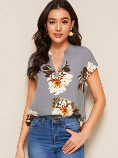 Floral Print V-cut Neck Dip Hem Top