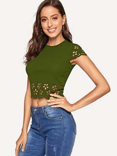 Laser Cut Scalloped Crop Top