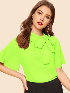Neon Lime Tie Neck Flutter Sleeve Top