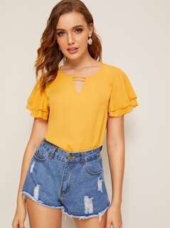 Solid Layered Sleeve V-cut Top