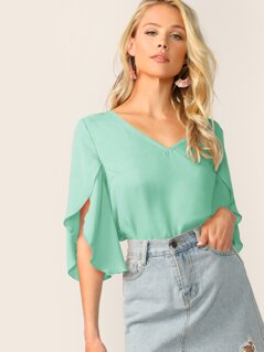 V-Neck Split Sleeve Top