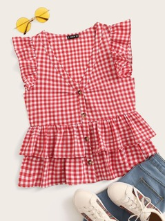 V-neck Ruffle Armhole Layered Hem Gingham Top