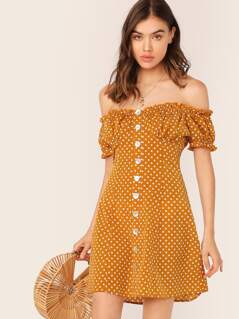 Polka Dot Off Shoulder Button Front Dress