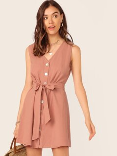 Single Breasted Belted Dress