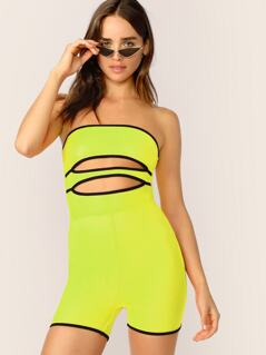 Neon Lime Contrast Binding Cutout Tube Romper