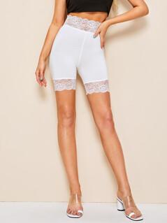 Lace Trim Solid Biker Short Leggings