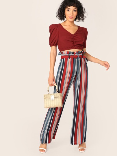 Ruffle Trim Buckle Belted Striped Wide Leg Pants