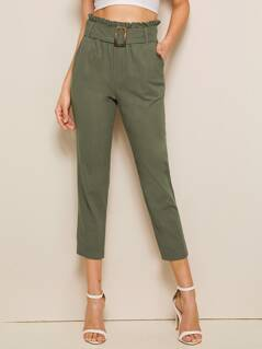 Paperbag Waist Buckle Belted Cigarette Pants