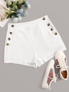 Buttoned Front Slant Pocket Shorts