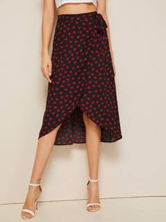 Confetti Heart Print Wrap Skirt