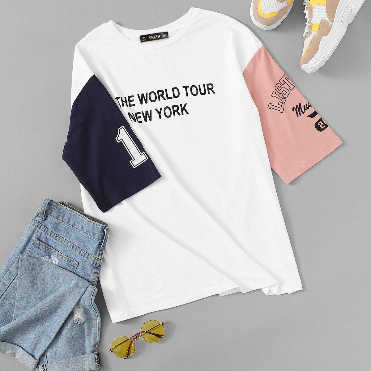 Контрастная футболка с текстовым принтом и заниженной линией плеч размера плюс