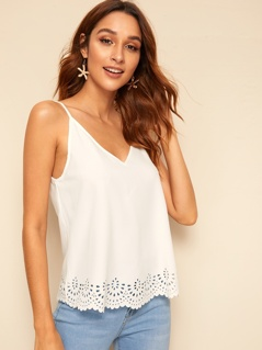 Double V-neck Laser Cut Cami Top