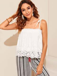 Knot Shoulder Frilled Trim Schiffy Layered Cami Top