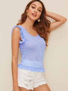 Ruffle Armhole Rib-knit Fitted Tank Top