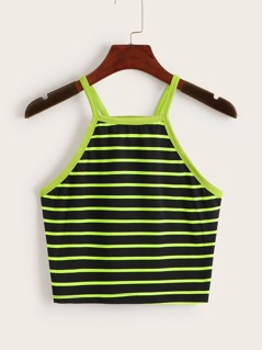 Neon Lime Striped Cami Top