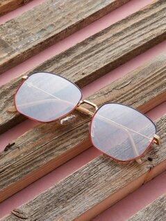 Pearl Detail Thin Rectangular Frame Sunglasses