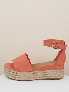 Scallop Edge Wide Band Jute Trim Flatform Sandals