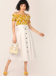 Belted Paperbag Waist Button Detail Midi Skirt