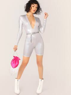 V-Neck Iridescent Glitter Long Sleeve Romper