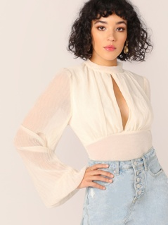 Keyhole Detail Puff Sleeve Open Tie Back Blouse