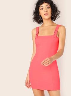 Buckled Strap Sleeveless Neon Mini Dress