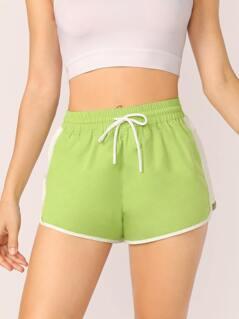 Elastic Drawstring Waist Side Stripe Shorts